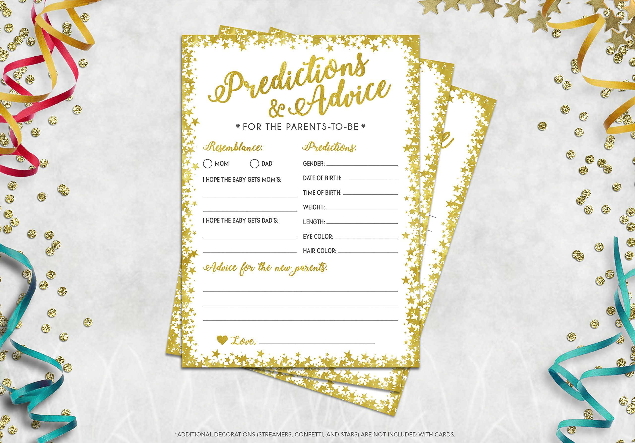 Baby Shower Games 50 Prediction And Advice Cards Gender Neutral