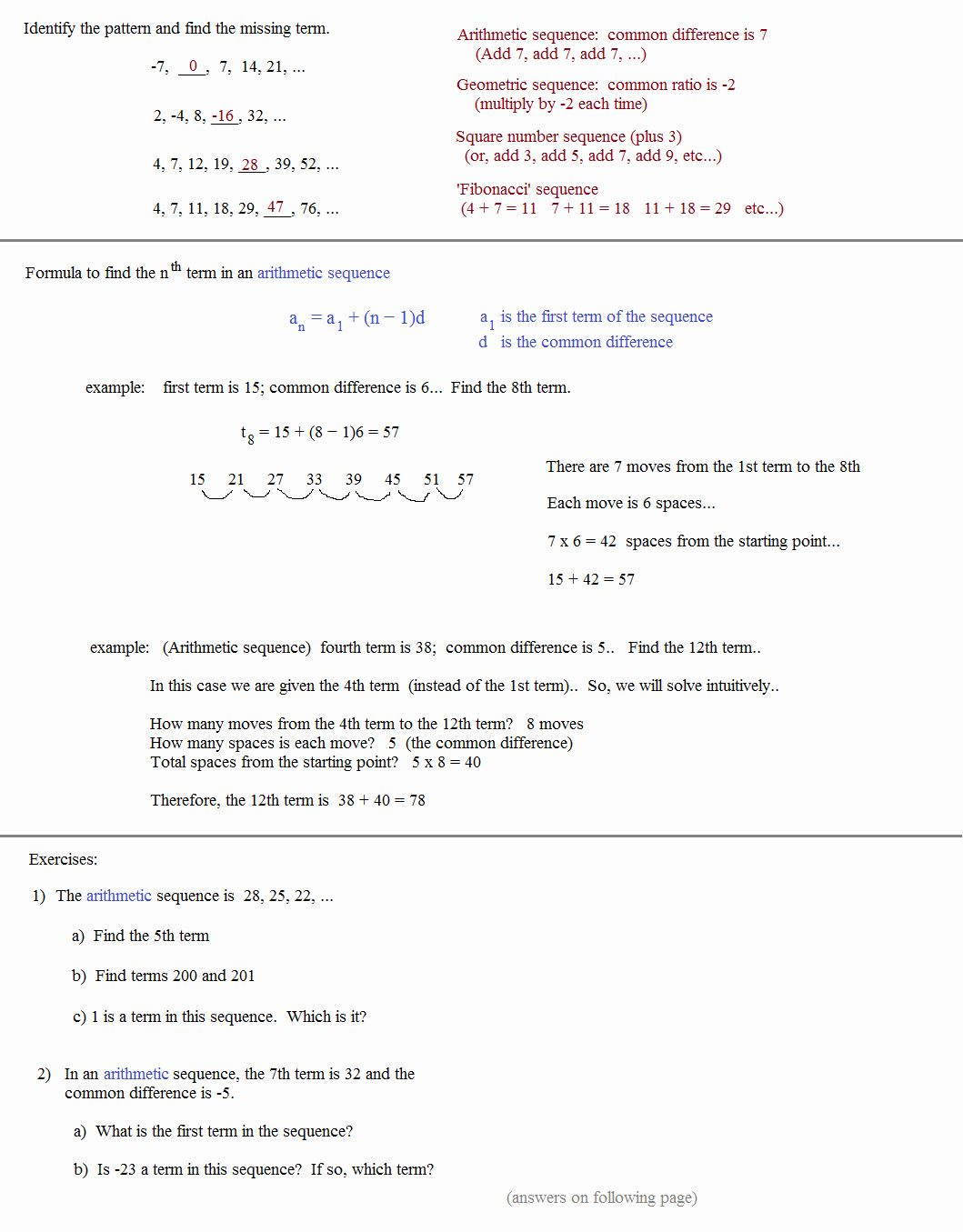 Algebra Fun Worksheets For Review Arithmetic Sequences Arithmetic Geometric Sequences