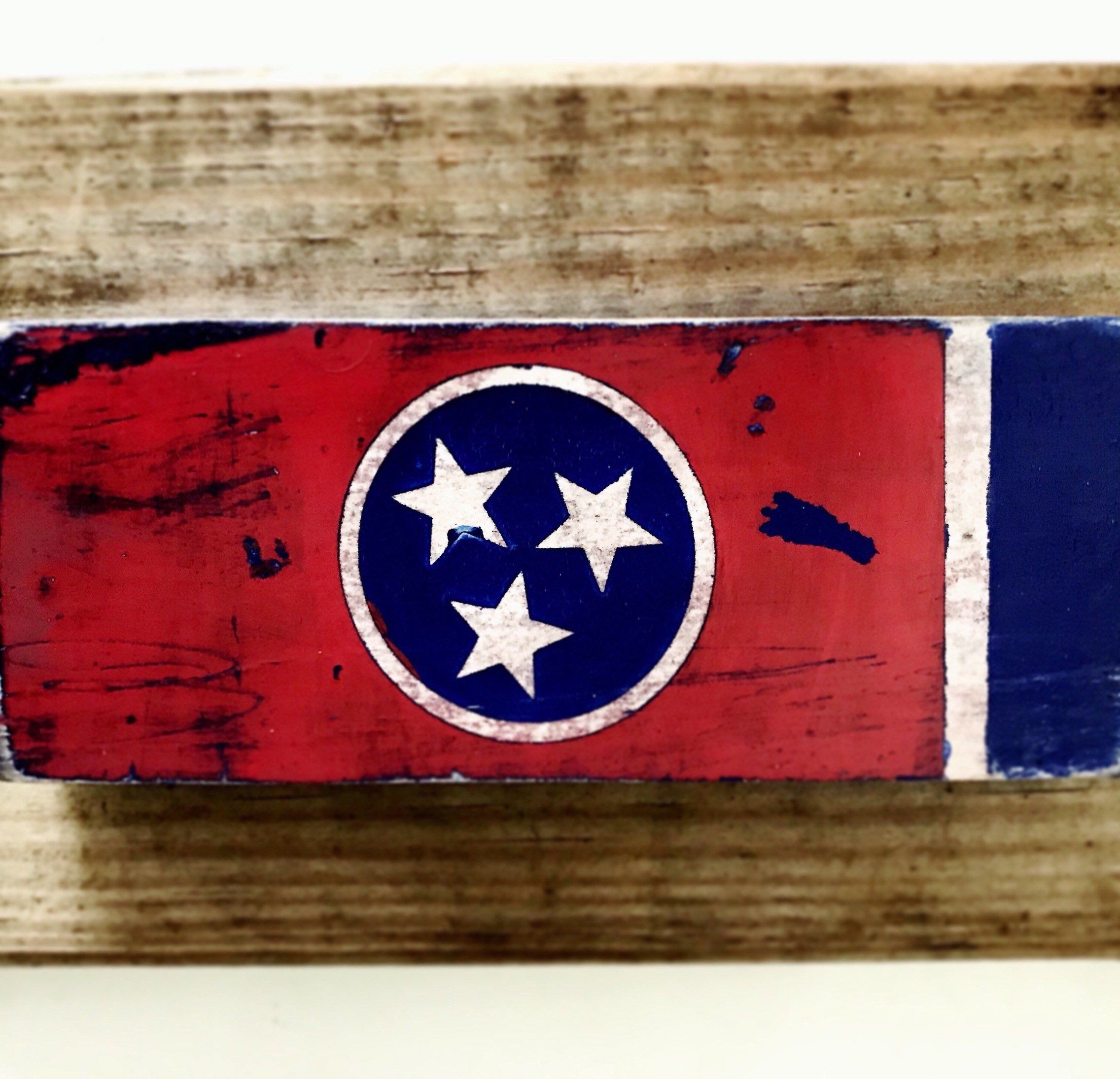 Hand Painted Wood Sign Tennessee State Flag - Barn Wood ...
