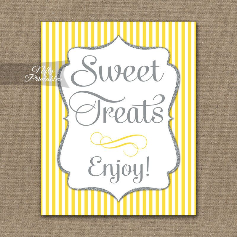 Desserts Sign Yellow Gray Sweet Treats Printable Dessert Table Signs Baby Bridal Shower Wedding Buffet Ygl