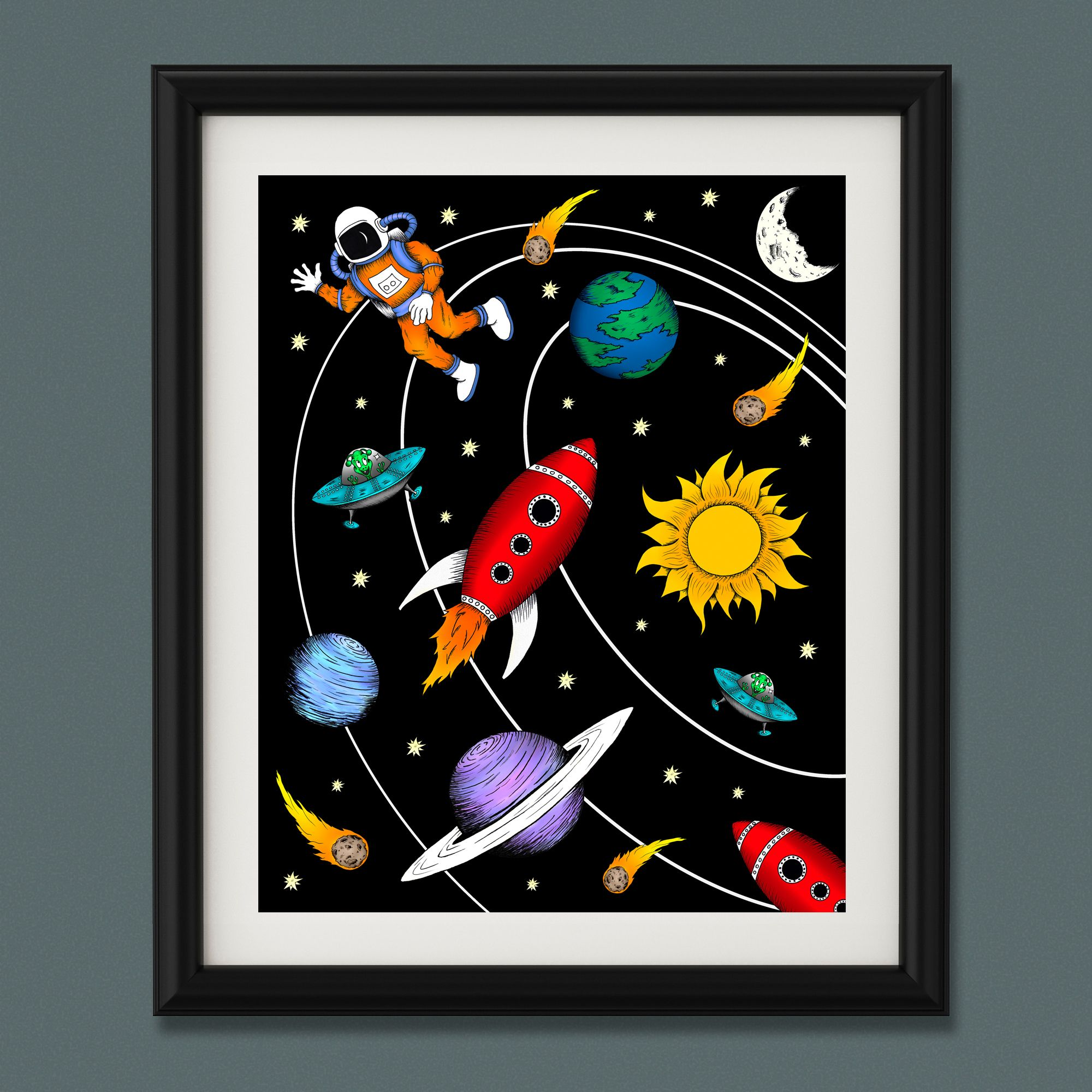 Outer space themed nursery wall art print collection