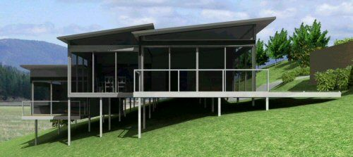 Pole House 147 M2 Split Level Home With Open Plan Living Dining Pole House Split Level House Plans Split Level House