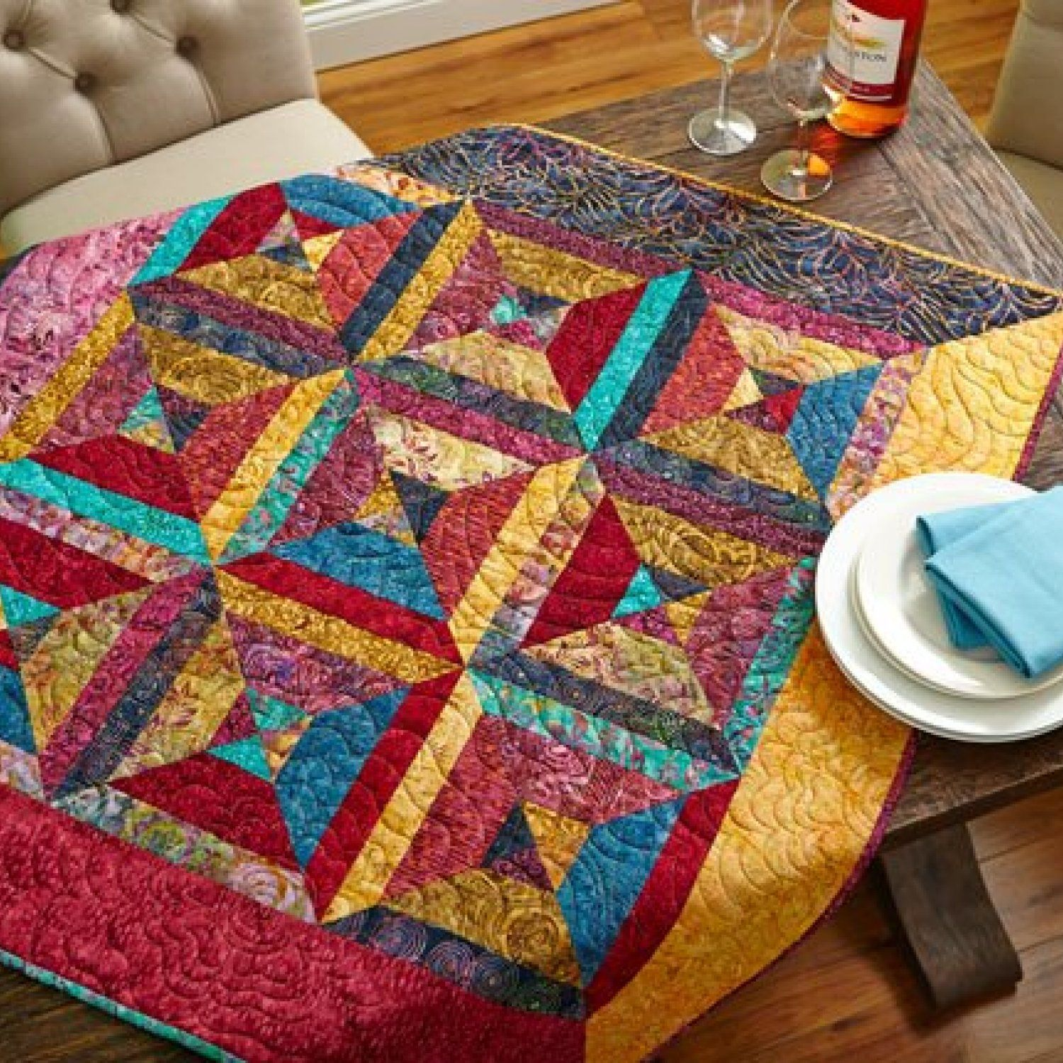 Create vibrant, graphic quilts using batik fabric. View a ... : quilt patterns for batiks - Adamdwight.com