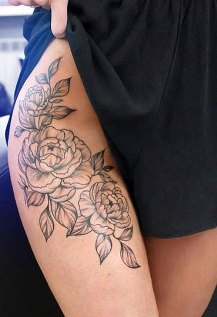 Beautiful Realistic Peony Hip Thigh Tattoo Ideas for Women ideas realistas del Beautiful Realistic Peony Hip Thigh Tattoo Ideas for Women ideas realistas del