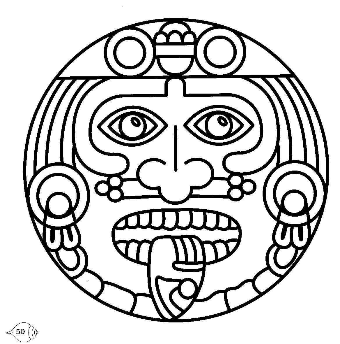 Color And Glue To Mayan Kite Aztec Symbols Aztec Art Mayan Symbols