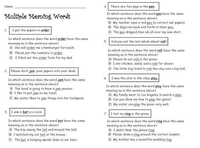 {Multiple Meaning Words Worksheet – Worksheets on Multiple Meaning Words