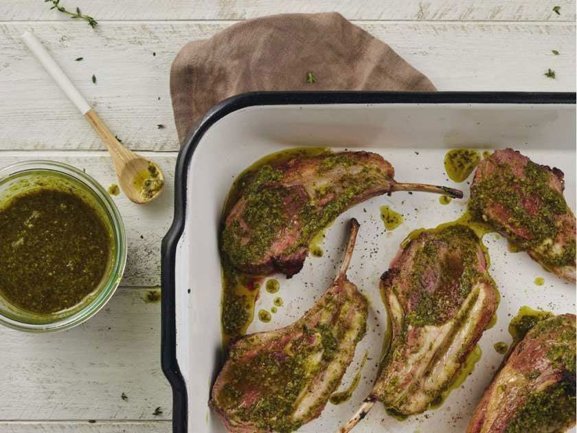 Oven-roasted lamb chops with mint chimichurri among 140 dishes in Patrick Mathieu's Firehouse Chef: Recipes from Canada's Firefighters