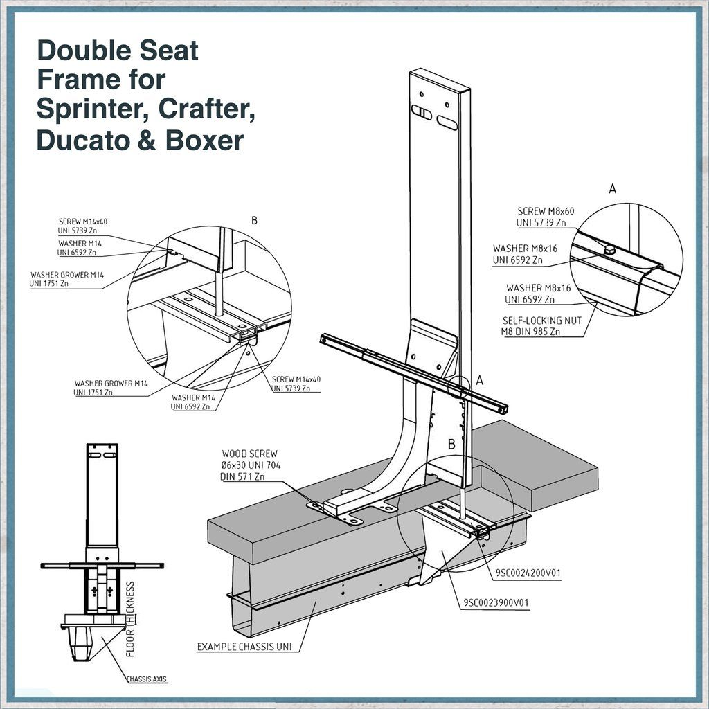 Double Seat Frame for Sprinter Crafter Ducato & Boxer in