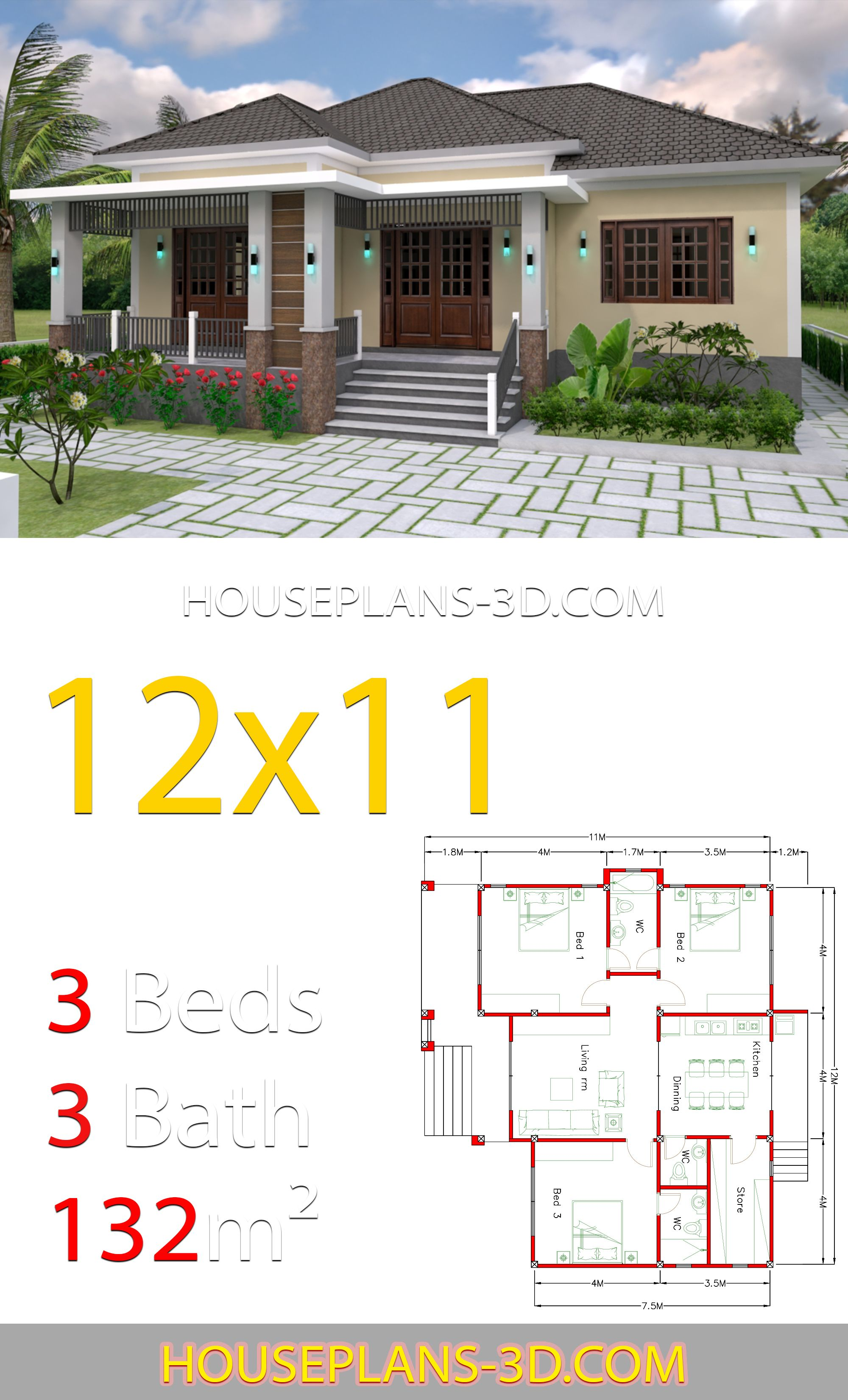 Home Design 12x11 With 3 Bedrooms Hip Roof House Plans 3d House Roof Bungalow House Plans Three Bedroom House Plan
