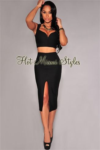 a58261e424 Black Textured Plunging V Neck Two Piece Set