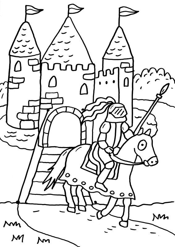 Ausmalbild Ritter und Drachen: Ritterburg kostenlos
