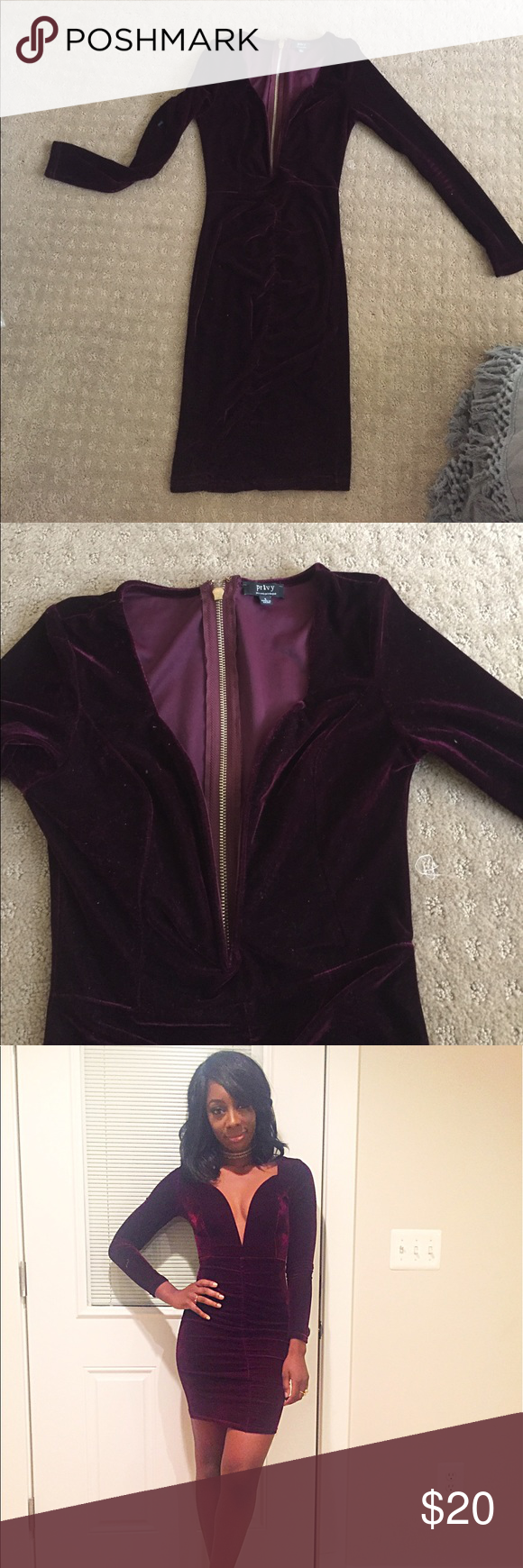 Velvet deep V rusched front dress This deep burgundy velvet dress is super sexy and great for a night out. It has a deep v with wire for structure and a rusched down the middle to hug your curves. Dresses Long Sleeve