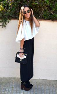 Blusa: Zara S/S 13, Vestido largo: Karen (si se pudiera poner el link suyo de Facebook sería genial!!) Tacones: Topshop, Bolso: Zara