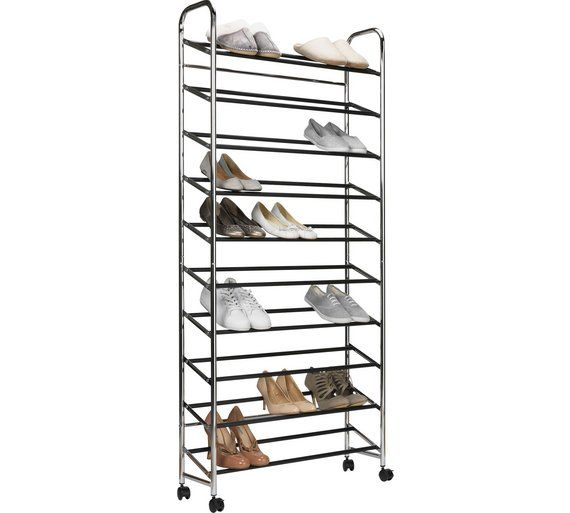 Buy Habitat 10 Shelf Rolling Shoe Storage Rack Chrome Shoe Storage Argos Shoe Storage Rack Shoe Storage Shoe Storage On Wheels
