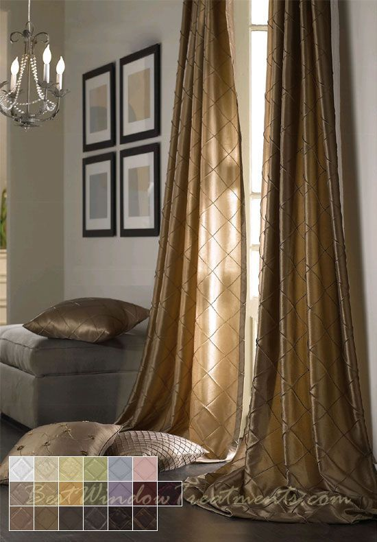 Colchester Diamond Pintuck Taffeta Faux Silk Fabric In Standard Size Curtain Panels 84 96