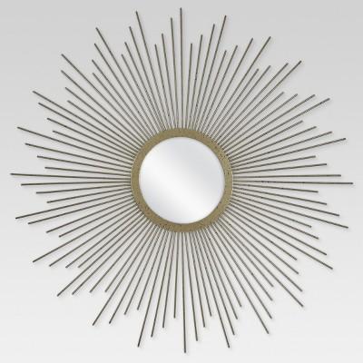 "23"" Sunburst Decorative Wall Mirror Metal Antique Gold ..."