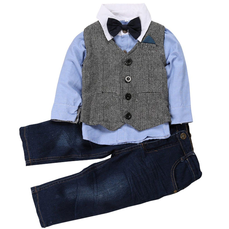 eaf9a8102 Kids Boys Gentleman Outfits Wedding Formal Wear Bowtie Shirt Vest Jeans  Clothing Set 3T Blue >