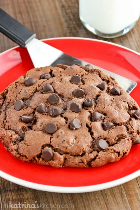 Double Chocolate Cookie Recipe makes one giant cookie!