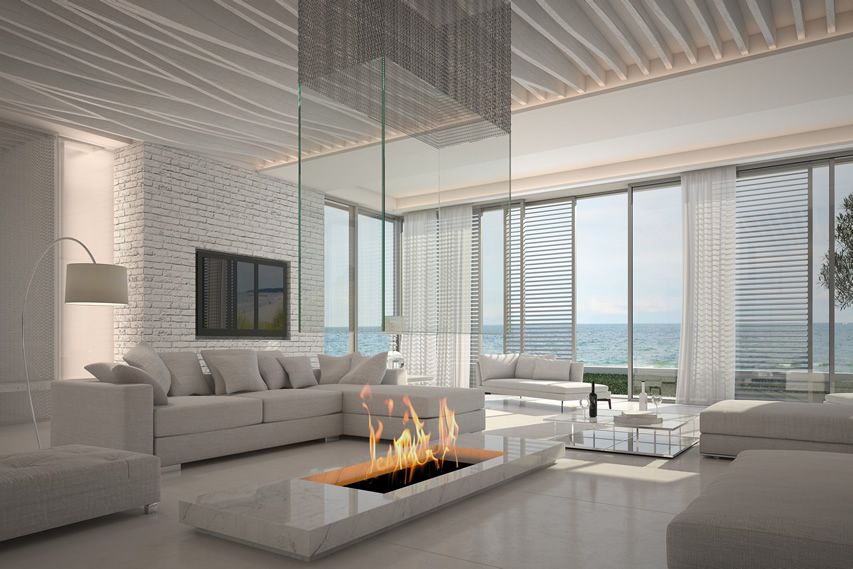 Attractive Modern White Living Room With Firepit And Ocean View Part 14