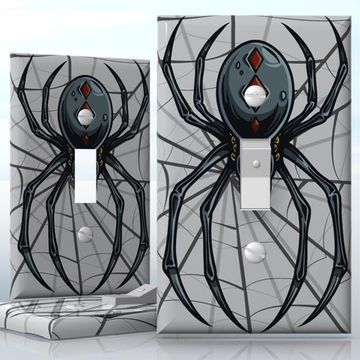 Diy 1 Gang Toggle Lightswitch Decal Skin Wrap Sticker Light Switch Black Spider Plates On Wall