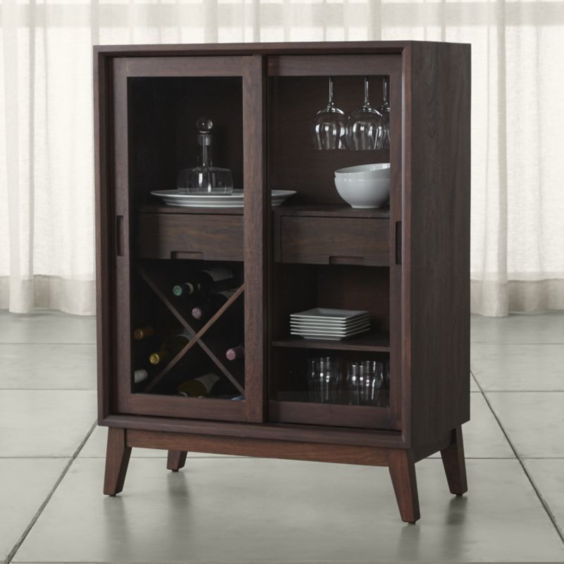 steppe bar cabinet crate and barrel small drawers walnut