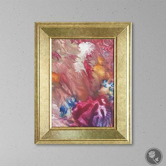 Rainbow Art Rainbow Painting Small Paintings Flow Painting Pink Painting Small Framed Art 5x7 Gold Frame Wall Art Acr Rainbow Abstract Art Rainbow Art