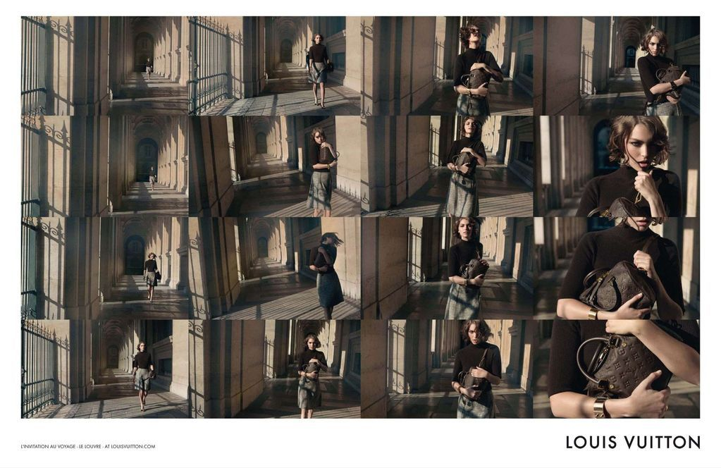 "Arizona Muse for Louis Vuitton.  'The Art of Travel' Ad Campaign. Great!!! Can call it ""chaising the bag""!"