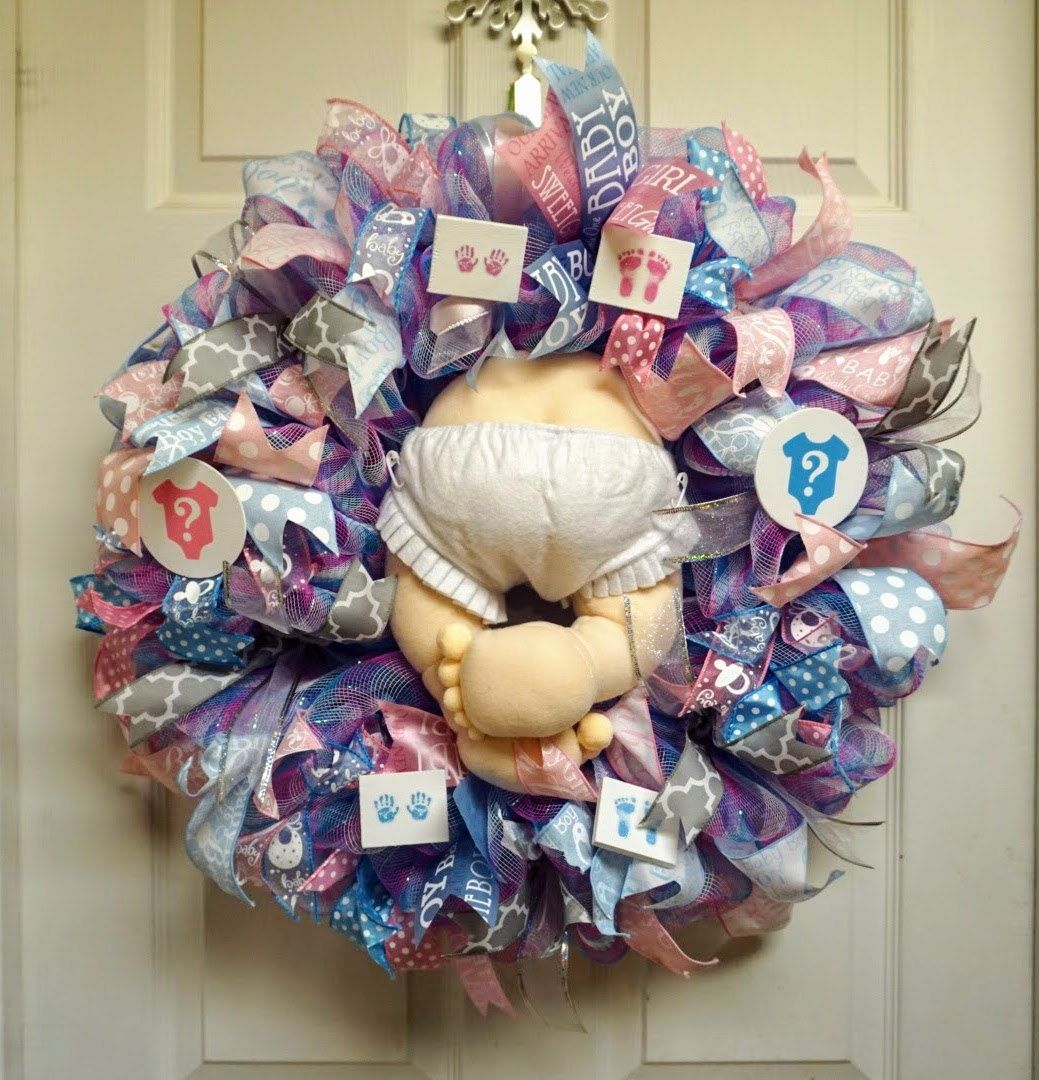 Gender Reveal Wreath, Baby Wreath, Baby Shower Wreath, Baby Door Hanger, Baby Door Decor by Texascaseyscreations on Etsy