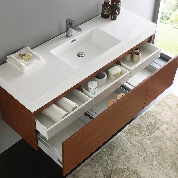 Mezzo 59 Wall Mounted Single Bathroom Vanity Set Floating Bathroom Vanities Modern Bathroom Vanity Modern Bathroom