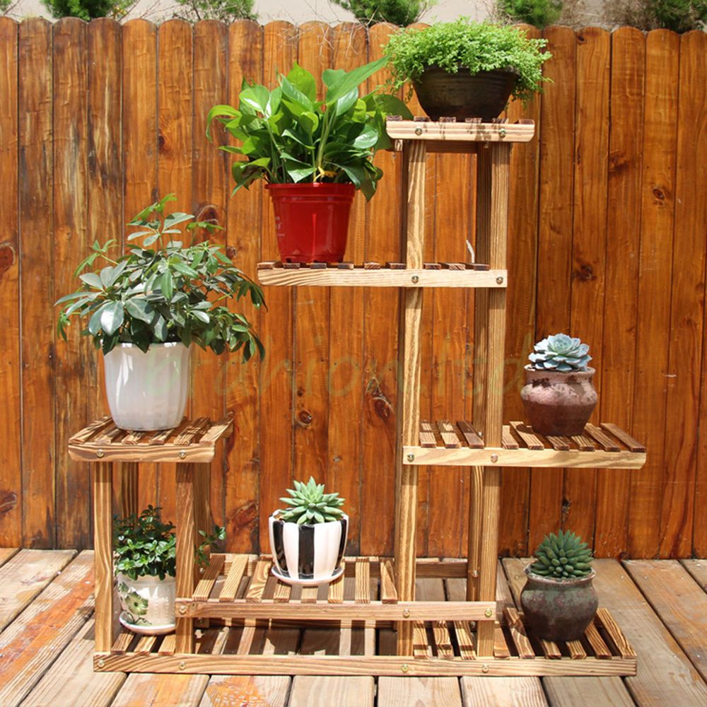 Outdoor Wooden Garden Balcony Shelf Display Stand Rack For Plants Flowers Herbs