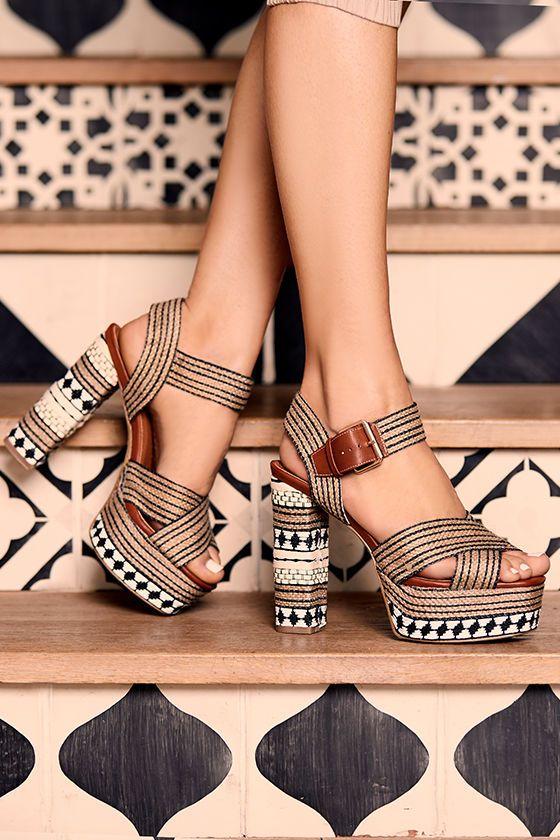 e76be7db2a1 Stylish Jute Platforms - Print Platform Sandals - Beige Platform Heels -