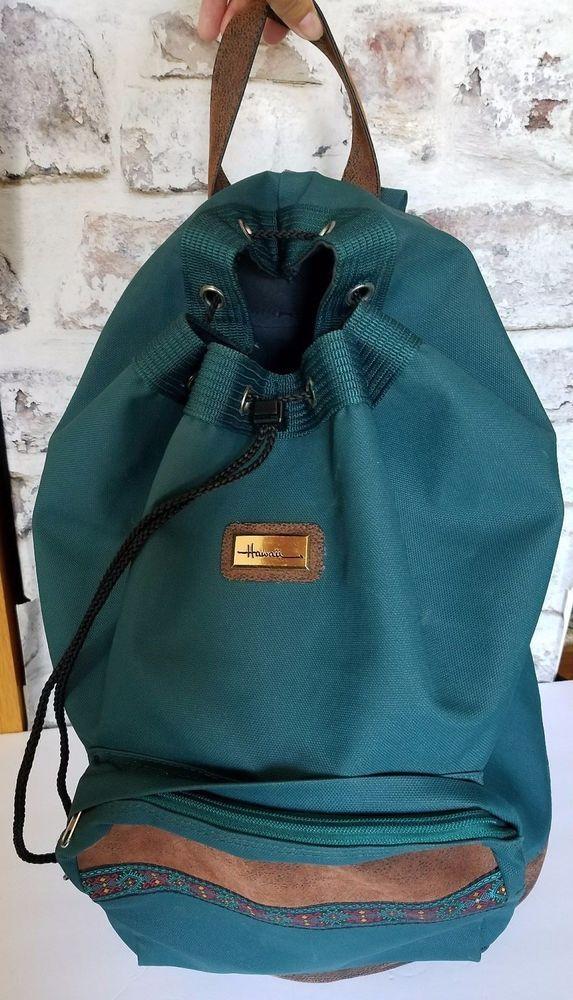 00817906c24 ... online store 8b435 9dc83 Backpack Drawstring bag barrel shape LARGE  teal brown Canvas VictoriasSecret Backpack ...