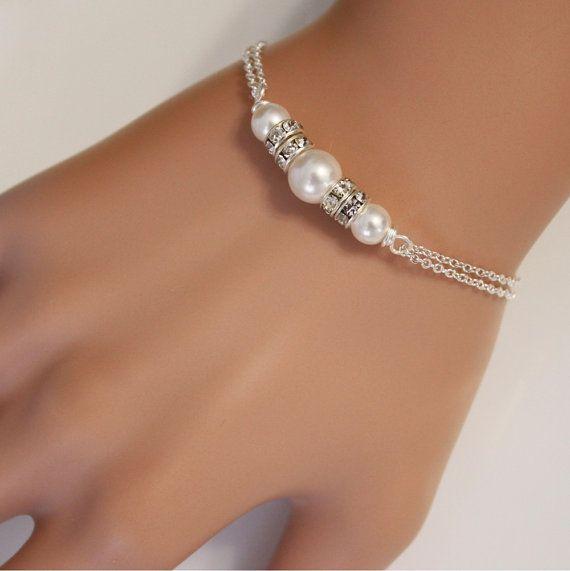 Bridesmaid Bracelet Swarovski White Pearl Chain Bracelet Bridal
