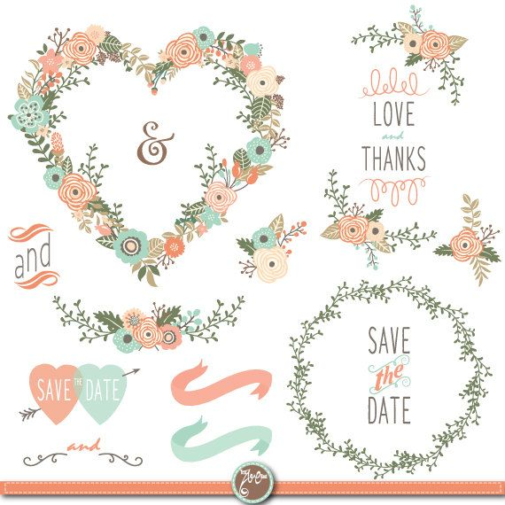 Wedding Clipart Pack FLORAL HEART SHAPE Vintage By YenzArtHaut