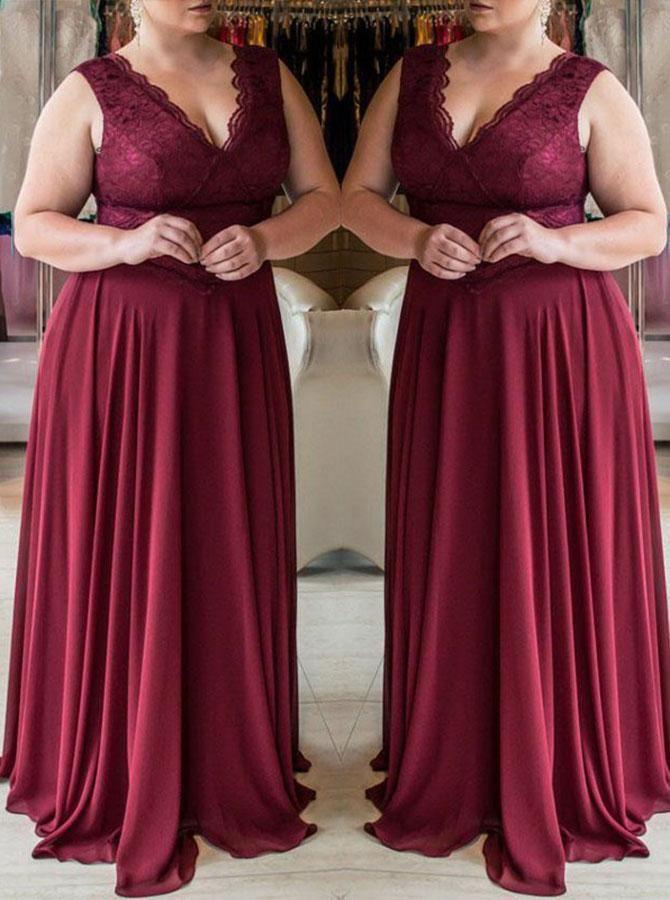 Burgundy Plus Size Prom Dresses,Elegant Plus Size Prom Dress ...