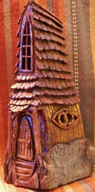 Cottonwood bark carving by n. minske bob and sandys house front