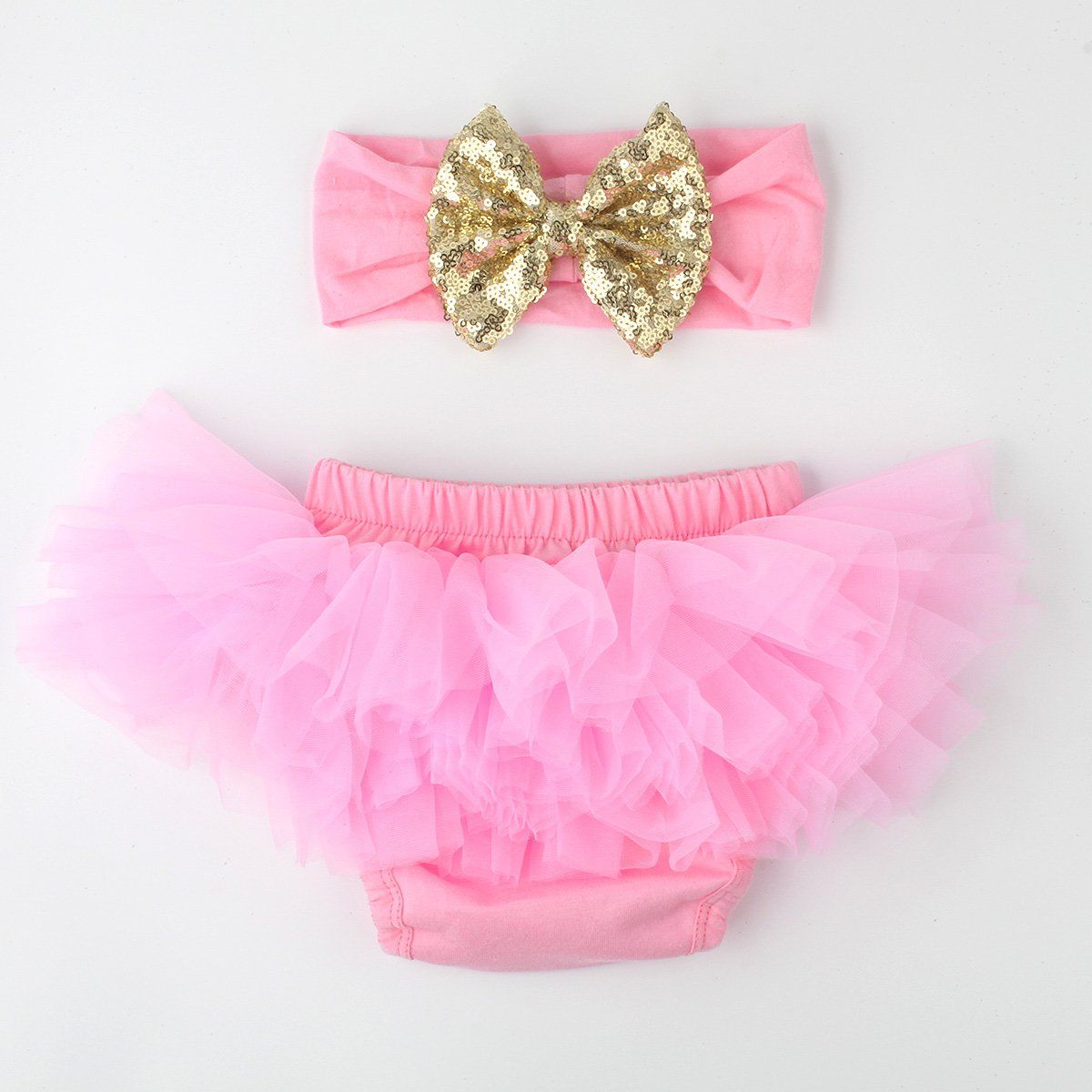 Baby Girls Tutu Bloomers Diaper Cover Cotton Tulle Bloomers and Headband Set Tutu Bloomers LFBSK017