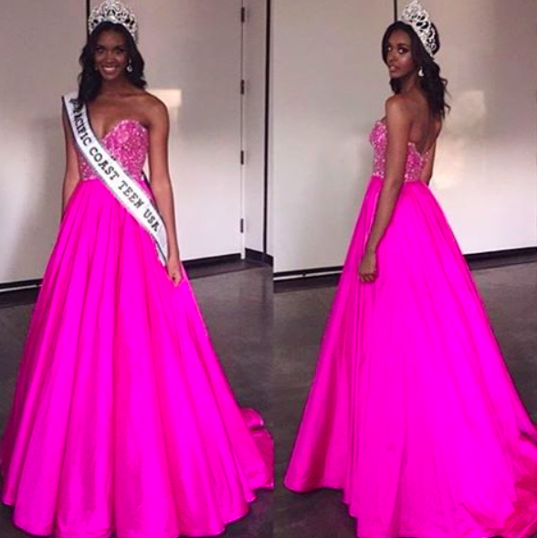Sherri Hill couture pageant gown. Pink pageant gown. Pink custom ...