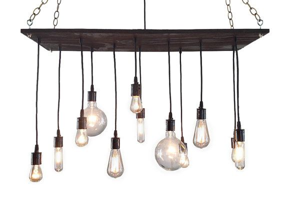 Urban Chandelier: Rustic Chandelier, Industrial Chandelier, Modern Lighting, Light Fixture, Reclaimed Wood Chandelier on Etsy, $319.00