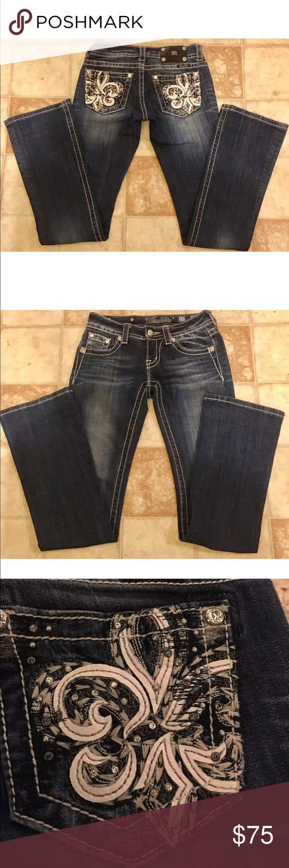 MISS ME Embellished Low Rise BootCut Jeans 25x34 BUCKLE MISS ME JEANS Gently used with no flaws. 