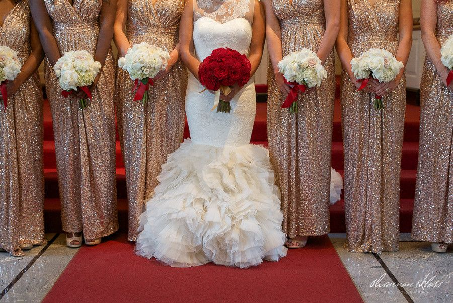 93d521c05 Vera Wang Wedding Dress with Red Roses Bouquet, and Gold Sequin Bridesmaids  Dresses with White Roses Bouquets