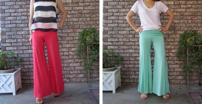 Made in the USA Solid fold over palazzo pants 7 colors | Jane