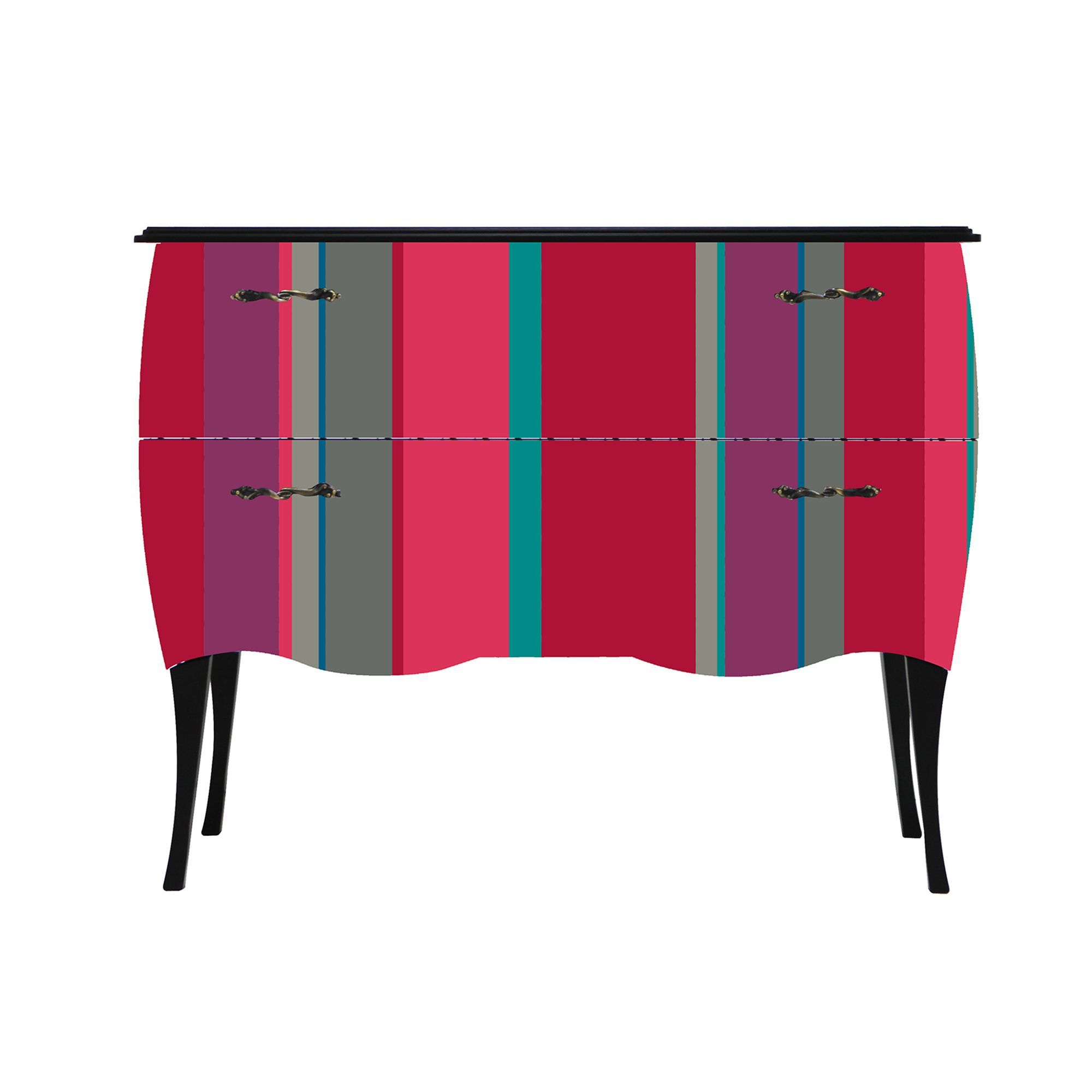 Print Baroque Color Stripes Petite Commode 2 Tiroirs Imprim  # Miami Meuble Tv Alinea