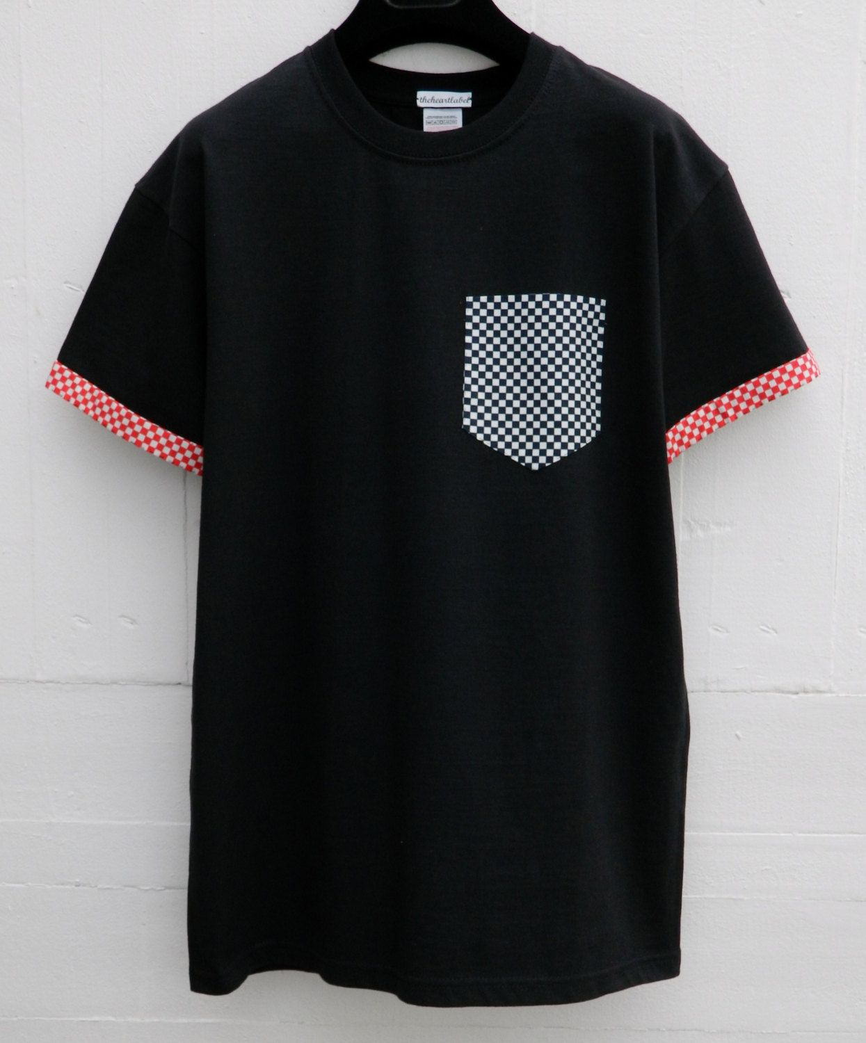 Mens Checkers Pattern Black Pocket T Shirt With Sleeves Mens T