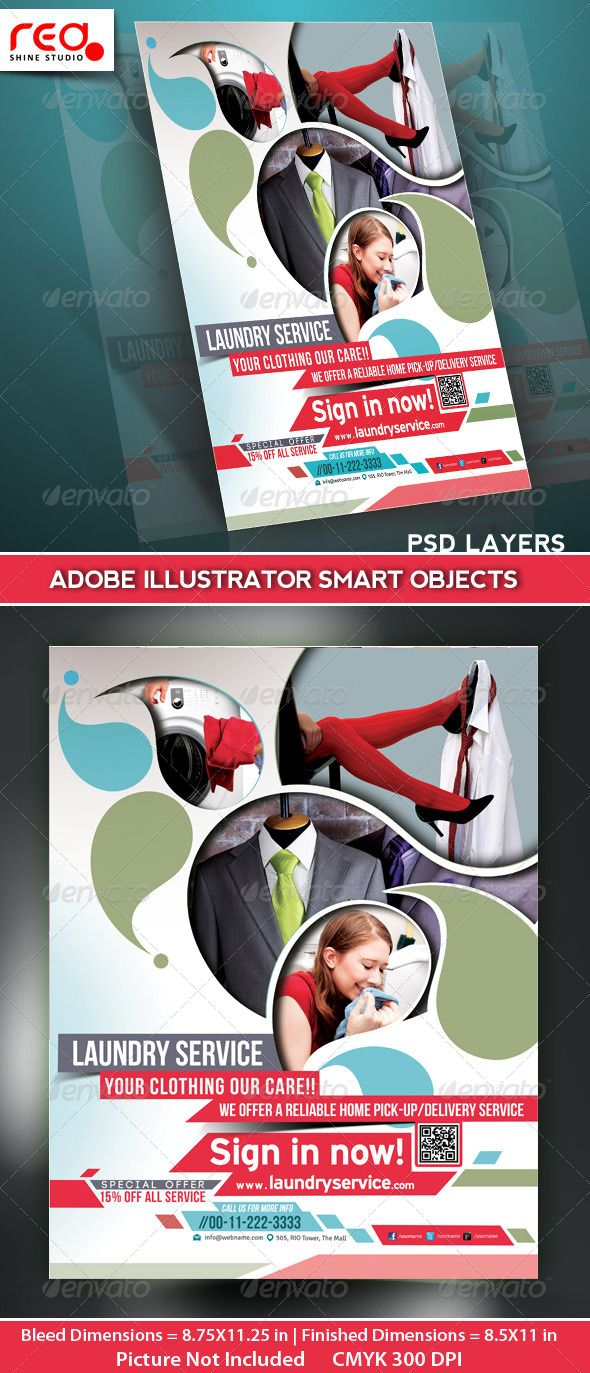 Laundry Service Flyer Poster Magazine Template
