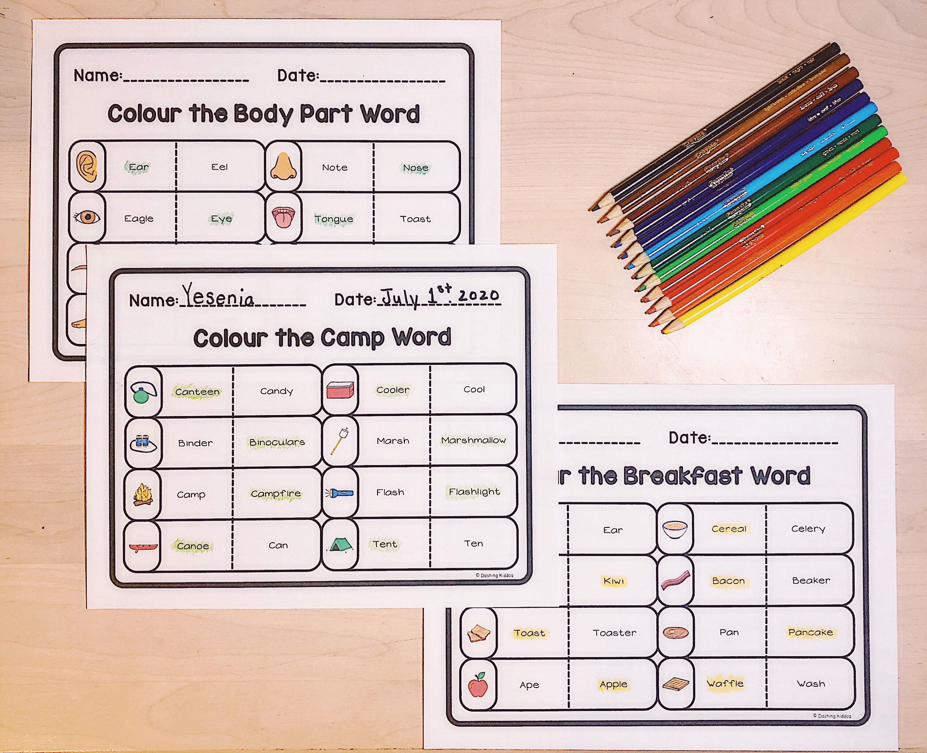 Colour The Word Worksheets Literacy Sight Words In