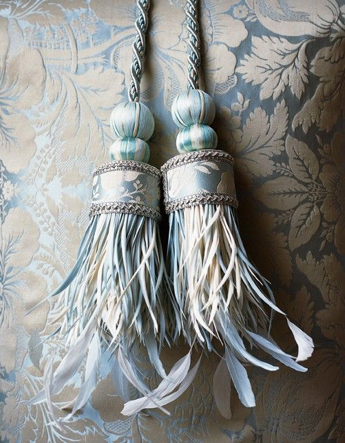Russian Silk Tieback Beautifully Crafted With The Finest Silk Work Exquisite Braiding And Stripped Goose And Coque Feath Tieback French Blue Curtain Tie Backs