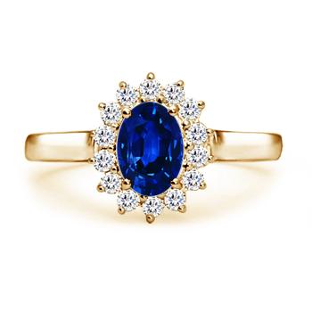 Angara Blue Sapphire Diamond Halo Vintage Studs in Yellow Gold vxBkfN