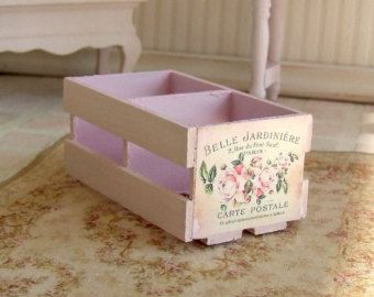 Dollhouse Miniature   Pink French Wooden Crate   Shabby Chic   12th Scale