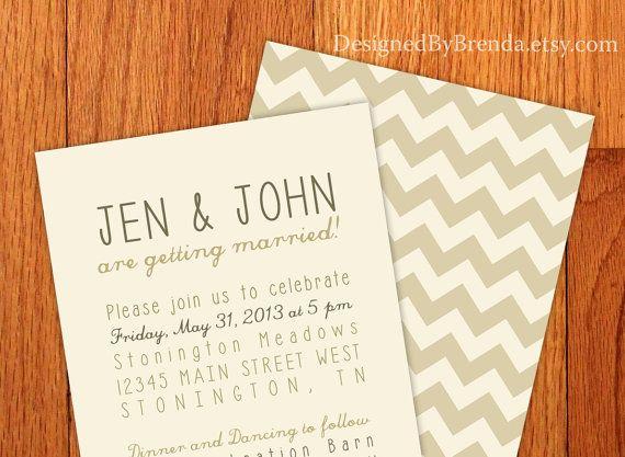 Chevron Wedding Invitations With White Envelopes Vintage Etsy Chevron Wedding Brown Wedding Invitations Wedding Invitations